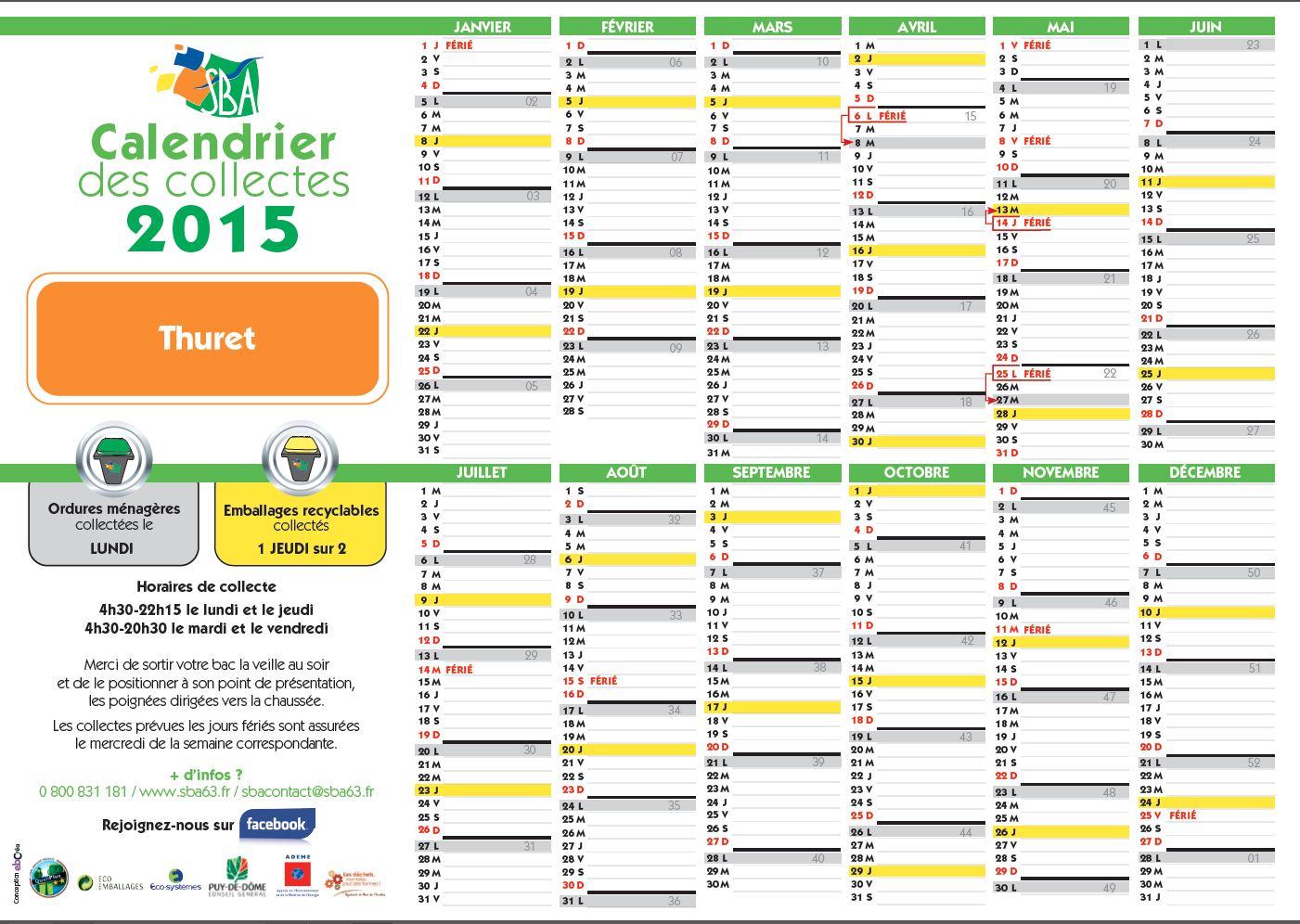 SBA – Le calendrier des collectes 2015 – Thuret